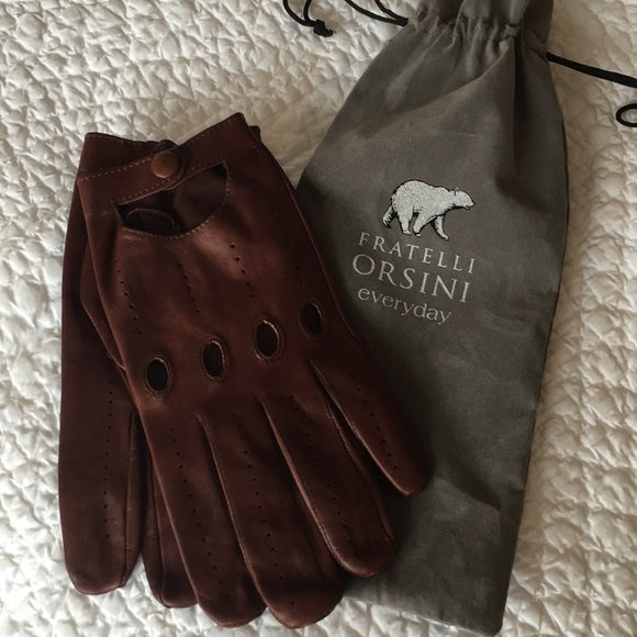 Fratelli Orsini Mens Italian Lambskin Leather Driving Gloves